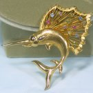 Vintage Brooks Goldtone Brooch/Pin, Great Swordfish? with a Fin of Multicolor Rhinestones!