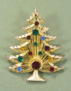 Vintage Brooks Christmas Tree Brooch/Pin:  Goldtoned with Bright Multicolor Rhinestones
