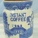 "Vintage Blue Willow Pattern ""Instant Coffee"" Canister, Marked Japan"