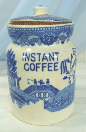 """Vintage Blue Willow Pattern """"Instant Coffee"""" Canister, Marked Japan"""