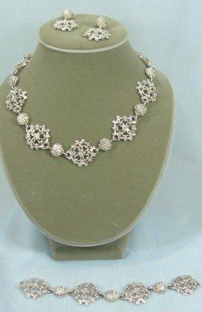 Silvertone Premier Necklace, Bracelet, & Earrings, Beautiful Design