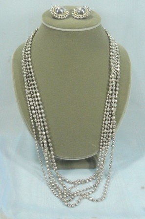 Premier Silvertone 5 Strand Necklace with Matching Earrings