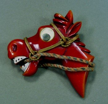 1930-40's Bakelite Googly-eyed Overdyed Red Horse Brooch/Pin