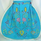 Bright Vintage Turquoise Cotton Apron; Fabulous Colorful Embroidery