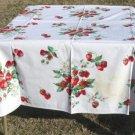 "Vintage Wilendur Strawberries 54"" x 66"" RectangularTablecloth, Great Condition"