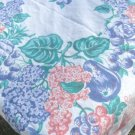 "Flowers & Fruits in Coral, Jade, & Blue Combo on a Great Vintage Tablecloth, 48""Sq."
