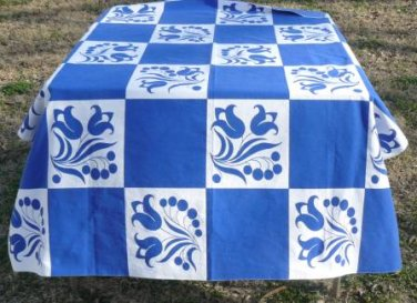 "Striking Vintage WilendureTablecloth in Royal Blue/White in Great ""Delft"" Pattern, 44x52"