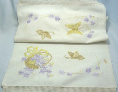 Off-White Dresser Scarf/Runner Done in Delicate Embroidery, Butterflies and Violets