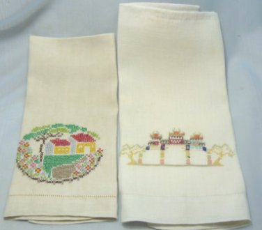 2 Sweet Vintage Linen Guest Towels Done in Delicate Cross Stitch