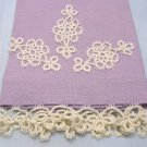 Sweet Vintage Lavender Linen Guest Towel with Tatting Motif and Edging