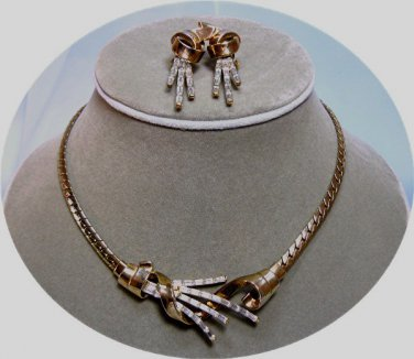 "Trifari ""Meteor"" Necklace and Earrings, Iconic Vintage Set, Book Piece"