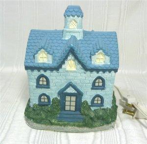 Lovely House in Light Blue Stone, Darker Tile Roof; for Christmas Village?