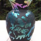 FENTON Cameo Glass CARVED LIZARD LEAVES VASE Black Satin Carnival Signed