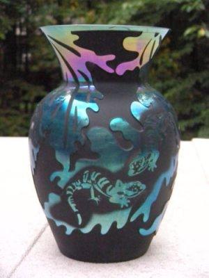 FENTON Cameo Glass CARVED LIZARD LEAVES VASE Black Satin Carnival Signed