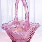 Blush ROSE Opalescent FENTON Glass Oval Panel Basket