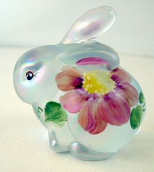 FENTON Glass French OPALESCENT Iridized Satin HandPainted BUNNY Rabbit Signed