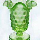 FENTON VASELINE Glass AMERICAN Cubist Key Lime FT VASE