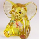 FENTON Buttercup Yellow Painted ELEPHANT Glass Figurine