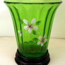 FENTON Art Glass Jolly Green Vaseline Handpainted Signed Flip Vase w/ Black BASE