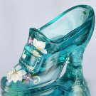 FENTON Glass BUCKLE SLIPPER Shoe Figurine BLUE Signed