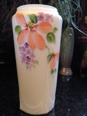 FENTON Art Glass Overlay Cased Buttercup VASE Handpainted & Signed