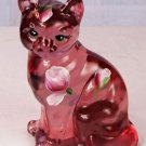 Fenton ART Glass PINK POPPIES CAT Signed Blush Rose