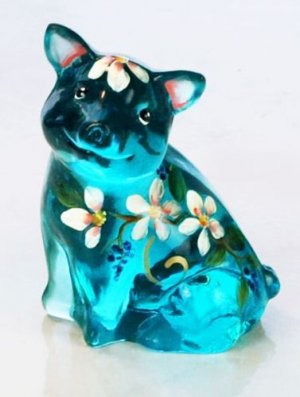 FENTON Art Glass SIGNED Spring Song BLUE PIG Figurine