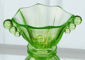 FENTON Art Glass CANDY NUT Panel BOWL VASELINE GREEN