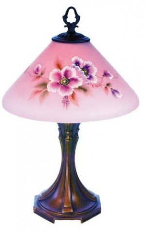 FENTON Glass ROSALENE Slant Shade Poppy Flower LAMP