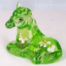 Signed VASELINE GREEN FENTON ART Glass HORSE Figurine