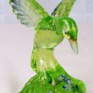 Fenton ART Glass VASELINE GREEN HUMMINGBIRD Painted