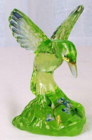 Fenton ART Glass VASELINE GREEN HUMMINGBIRD Painted