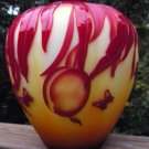 "FENTON Amberina CAMEO Art Glass CARVED ""JUST RIPE""  Designer PROOF MELON VASE"