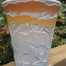 "FENTON GRAY CAMEO Glass CARVED ""ELEPHANT WALK III"" Artist PROOF Vase Kelsey"