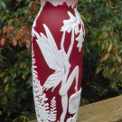 "FENTON Ruby RED CAMEO Art Glass CARVED ""Fairy Fire""  Designer PROOF VASE"