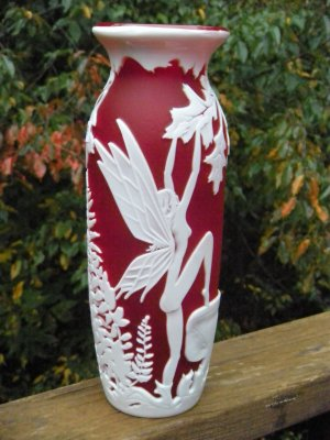 """FENTON Ruby RED CAMEO Art Glass CARVED """"Fairy Fire""""  Designer PROOF VASE"""