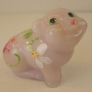 FENTON Milk Glass Shell PINK PIG Figurine Hand Painted Signed New in BOX 5220 VH