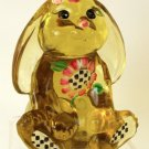 FENTON Glass HandPainted LOP EAR BUNNY Rabbit Signed Autumn GOLD