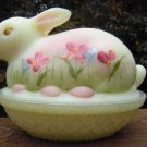 FENTON Art Glass Burmese BUNNY on a NEST Candy BOX Signed HANDPainted & Signed