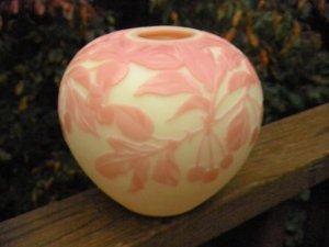 "FENTON Burmese CAMEO Art Glass CARVED ""CHERRY PIE"" ARTIST PROOF VASE"