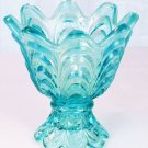 FENTON Glass 2 WAY DRAPERY Votive Candle Holder LIGHT Blue NIB