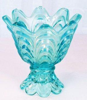 FENTON Glass 2 WAY DRAPERY Votive Candle Holder LIGHT Blue NIB