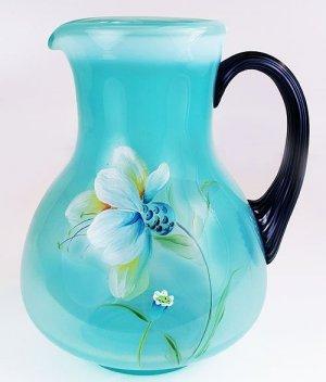 FENTON Art Glass Light BLUE PITCHER HandPainted SIGNED