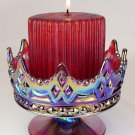 FENTON Ruby RED CARNIVAL CANDLE BOWL LUXEMBOURG Footed  Crown
