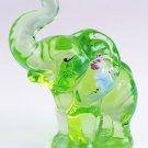 FENTON Glass Signed VASELINE KEY Lime GREEN Elephant Handpainted  5158R9