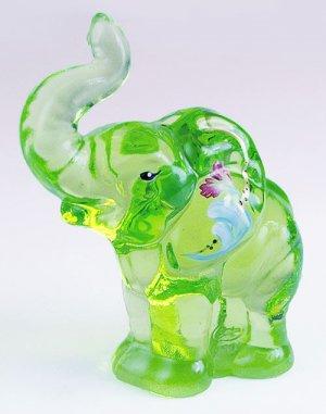FENTON Glass Signed VASELINE KEY Lime GREEN Elephant Handpainted  5158R9
