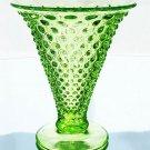 FENTON Art Glass HOBNAIL Flare VASE VASELINE Green GLOW