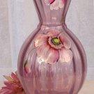 FENTON Art Glass Blush Rose Opalescent POPPIES Handpainted Signed VASE NEW