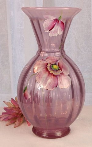 FENTON Art Glass Blush Rose Opalescent POPPIES Handpainted Signed VASE NEW