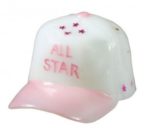 FENTON Glass Ball Cap Milk Pink Figurine Baseball Hat ALL STAR